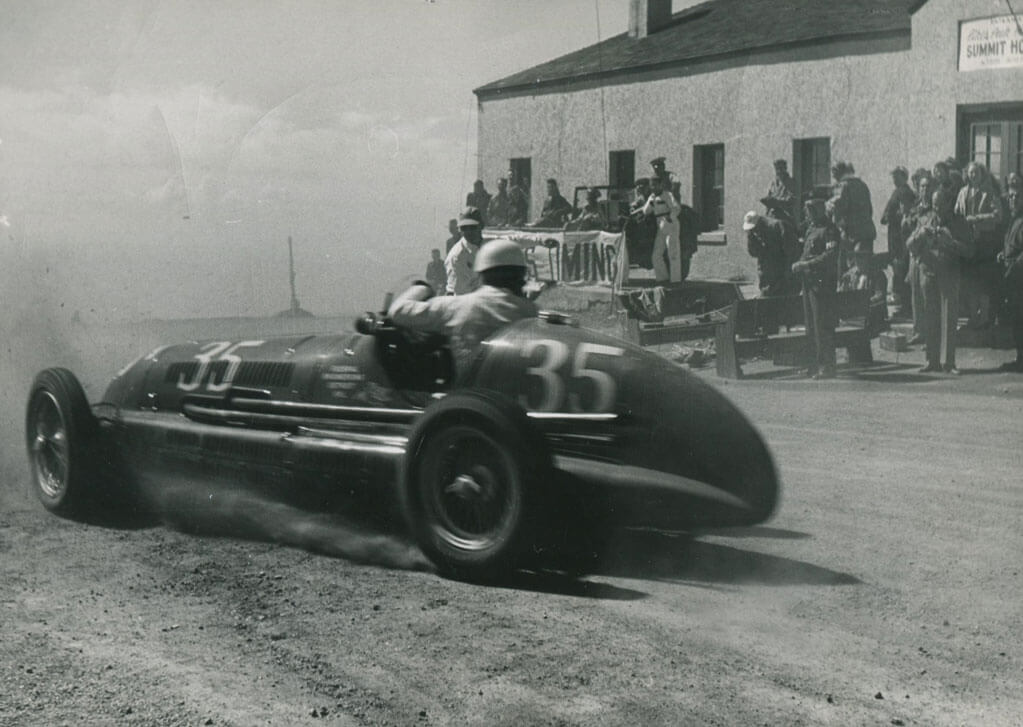 Louis Unser came across the finish line in reverse and lost to Al Rogers.